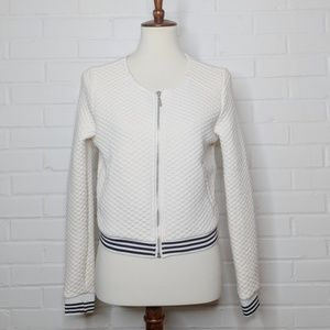Ya Los Angeles Quilted Cream Bomber Jacket Striped
